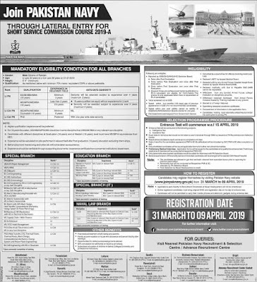 Join Pak Navy 2019 for Short Service Commission Course 2019-A | Apply Online
