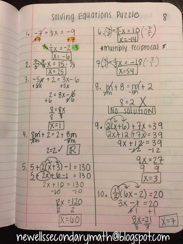 Solving Multi Step Equations Riddle Worksheet - Tessshebaylo