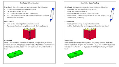 Close Reading bookmarks for nonfiction