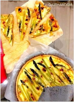image-Tarte salée pâte sablée parmesan-romarin : asperges, chorizo et maïs