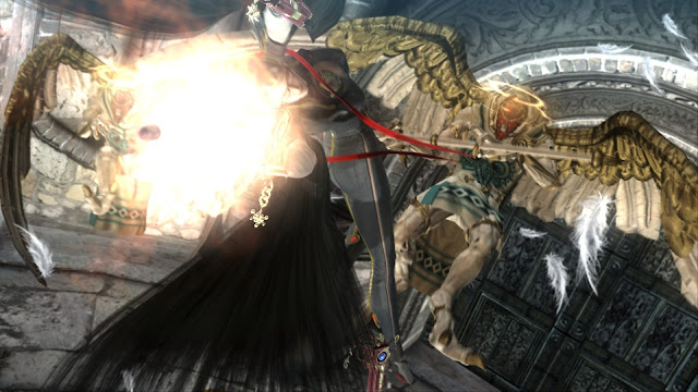 Bayonetta is dodging an enemy in the air while attacking at the same time.