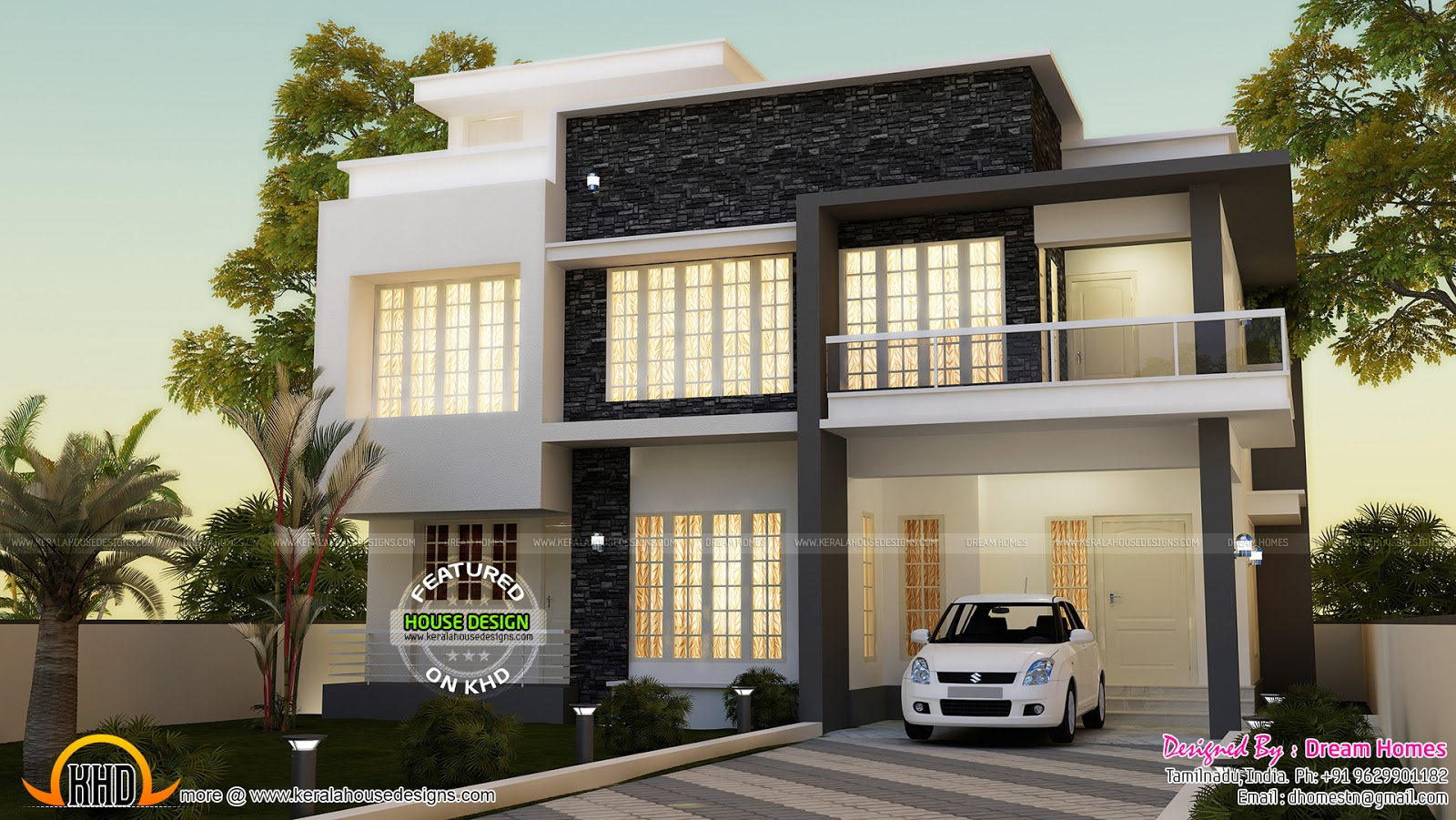 Simple contemporary house and plan kerala home design for Two floor house plans in kerala