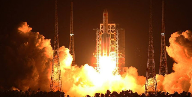 China launches Long March 5 carrier rocket. Photo Credit: Xinhua / Li Gang