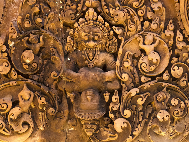 Ornate decoration at Banteay Srei temple in Angkor Cambodia