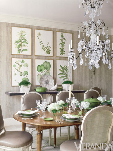 botanicals grouped on dining room wall green and white gorgeous chandelier