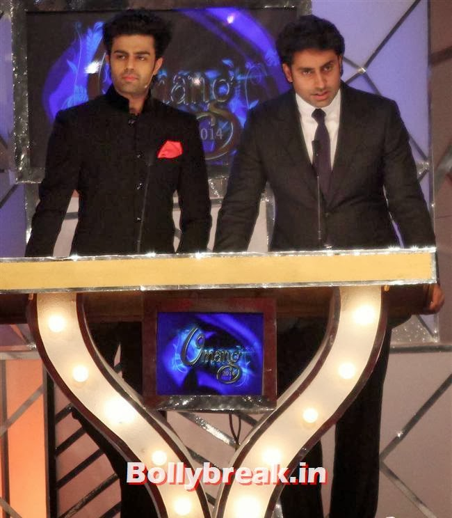 Manish Paul and Abhishek Bachchan, Bollywood Celebs at Umang Police Show 2014