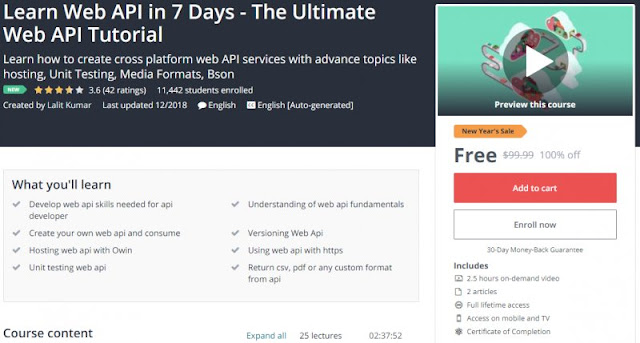 [100% Off] Learn Web API in 7 Days - The Ultimate Web API Tutorial| Worth 99,99$
