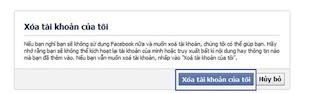 Xác nhận lại việc xóa tài khoản Facebook