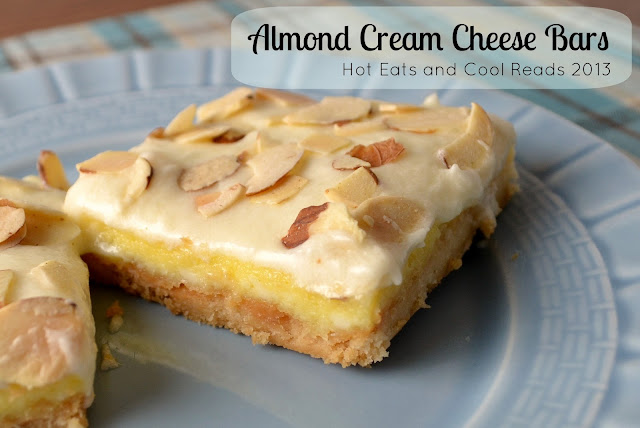 Creamy and delicious, these bars are pretty much perfection! Great for the holidays or a pot luck! Almond Cream Cheese Bars Recipe from Hot Eats and Cool Reads