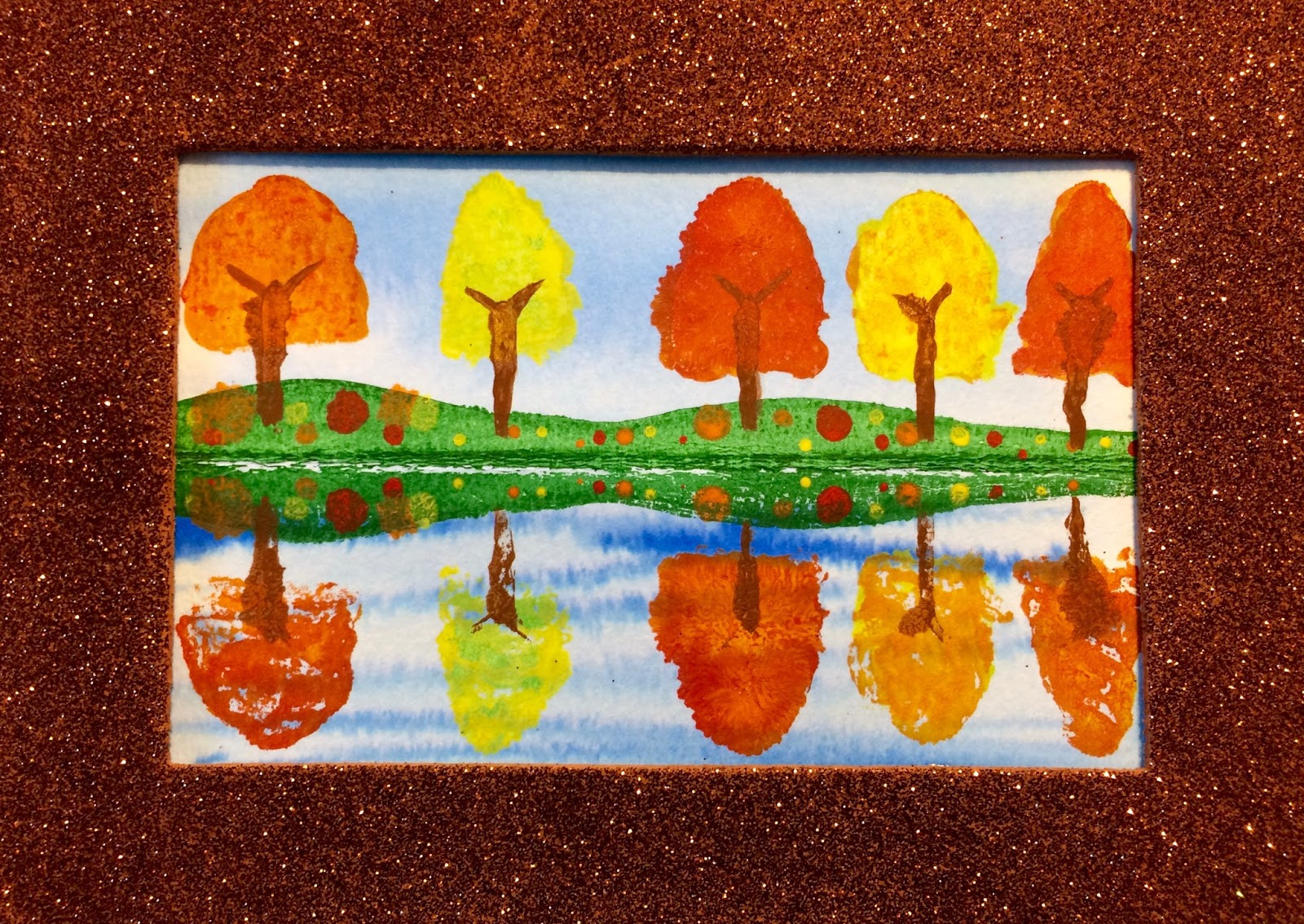 Kathy S Art Project Ideas Fall Trees Reflected In A Pond Step By Step Art Lesson