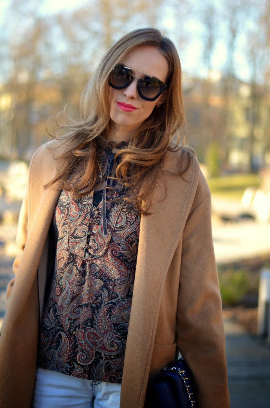 kristjaana mere printed top camel coat spring outfit