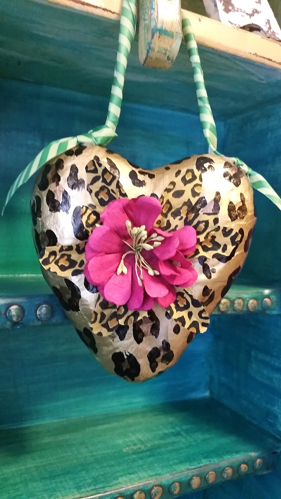 hand painted leopard heart Valentine ornament