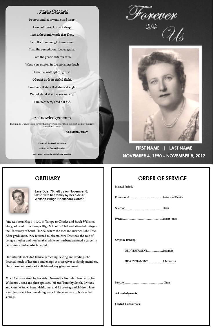Funeral Templates Free sample funeral program template 30 – Free Memorial Program Template