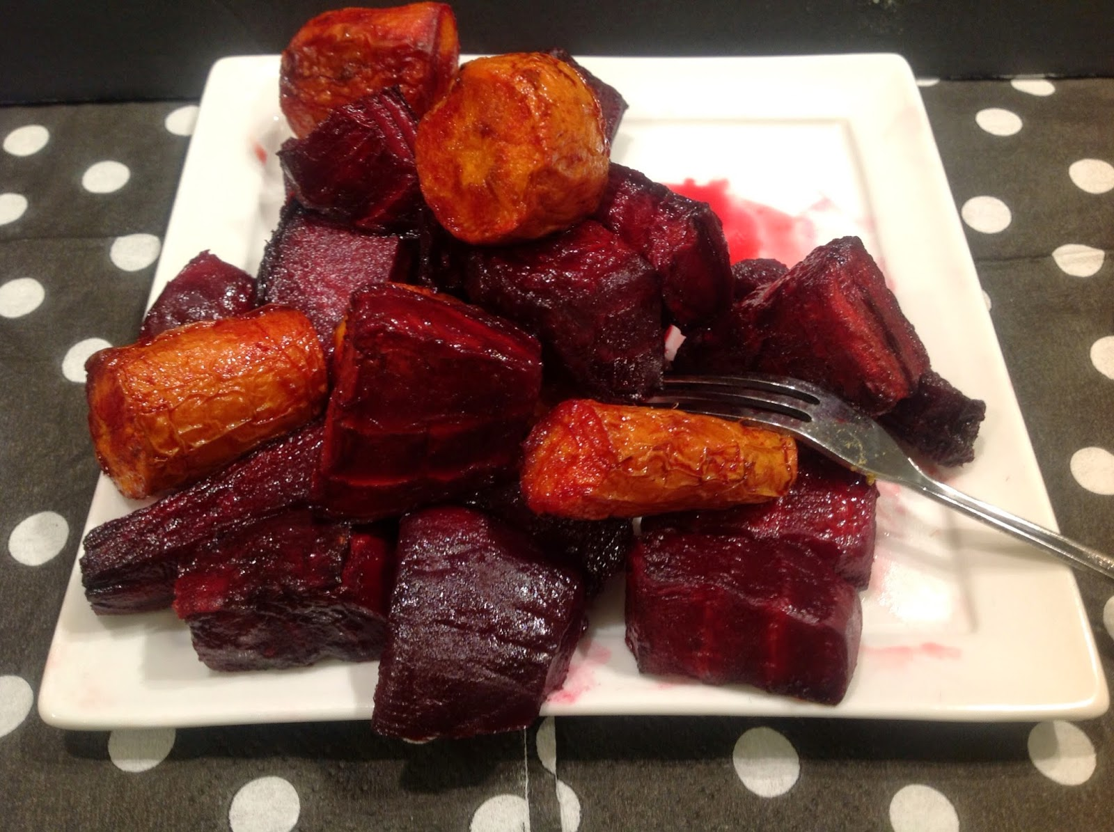 roasted beets and carrots in a vinegar glaze