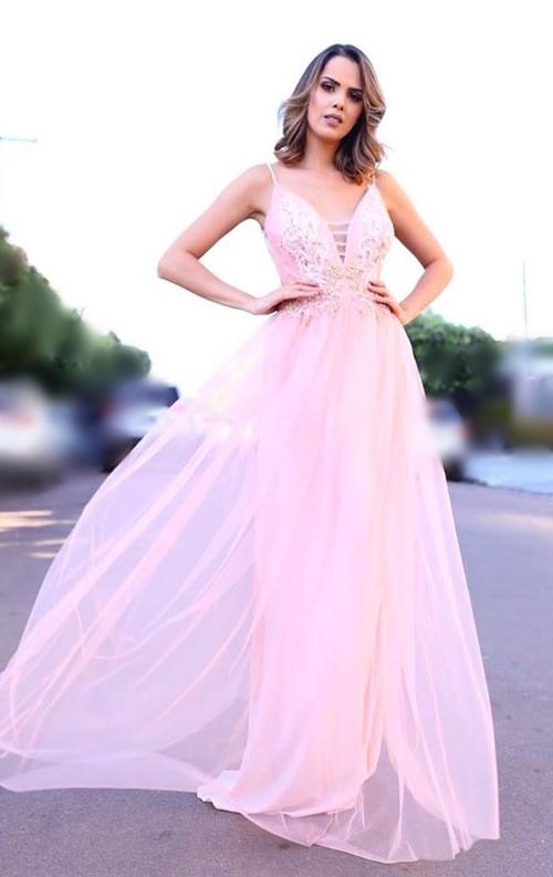 vestido de festa rosa alcinha