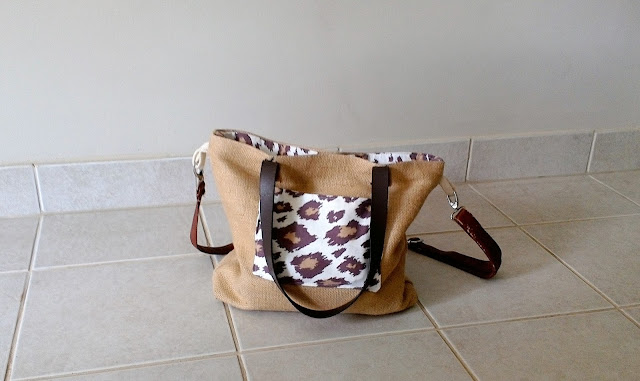 Leopard burlap tote bag purse by Lina and Vi Plymouth MI - www.linaandvi.etsy.com