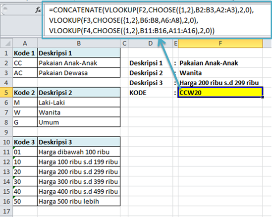 Contoh Rumus Excel VLOOKUP Membuat Kode Barang