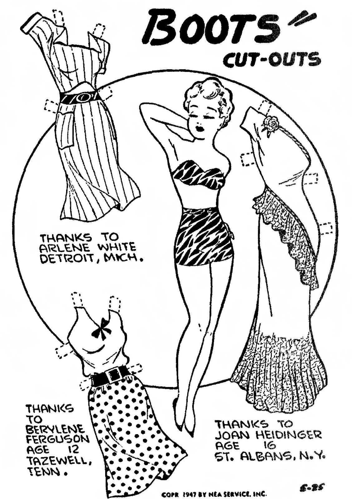 Mostly Paper Dolls: Pretty Miss BOOTS From 1947