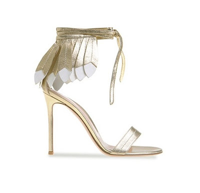 Gianvito Rossi Spring Summer 2016 Shoes Cheyenne American Indian Headress barely there stiletto sandal in metallic