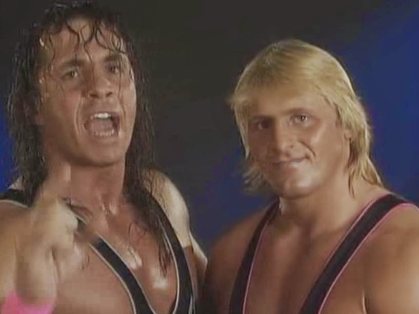 WWF / WWE ROYAL RUMBLE 1994: Bret and Owen Hart put up a united front before their title match against The Quebecers