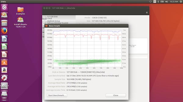 тест на Netac NT620 под Ubuntu 16.04 в Fujitsu Lifebook AH530