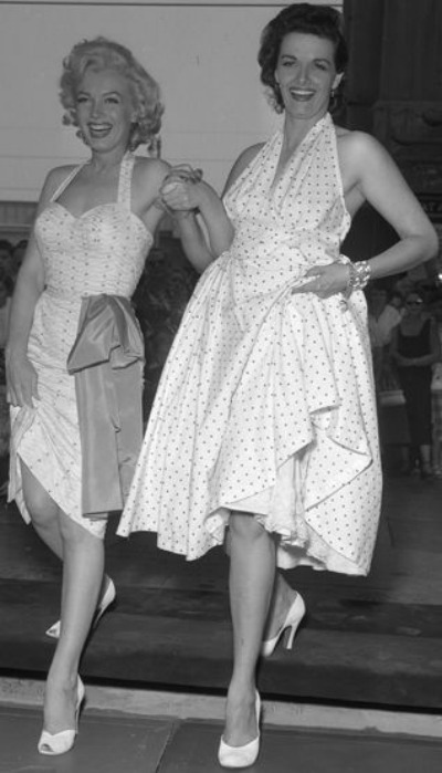 Marilyn Monroe and Jane Russell in halter dresses for Grauman's Chinese Theater signing in 1952