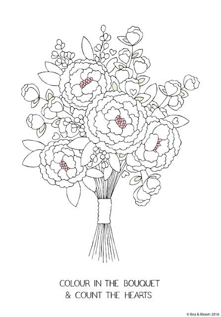 """Lámina para colorear """"Ramo de novia para colorear y contar corazones"""" de Bea & Bloom"""
