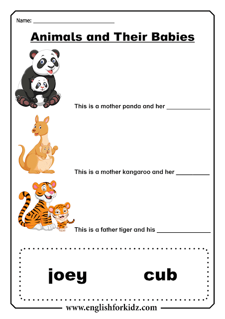 Printable baby animals worksheets for ESL students