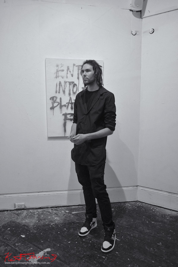 Music writer, Bens Big Blog, at Goodspace gallery. Photographed by Kent Johnson for Street Fashion Sydney.