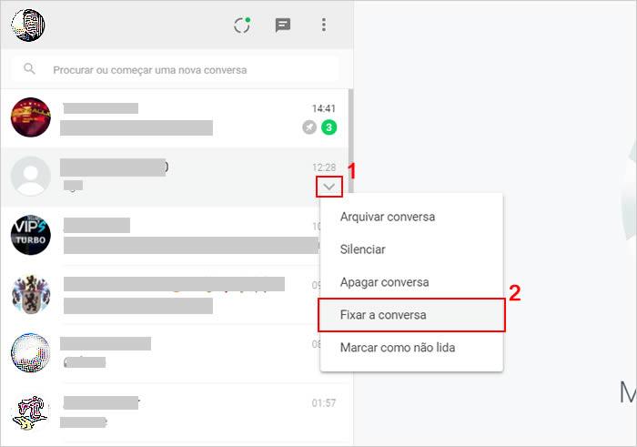 Fixar conversas pelo WhatsApp web ou no aplicativo para PC