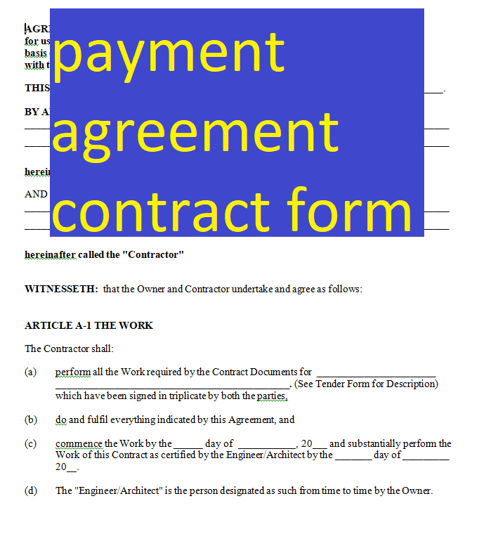 Payment Agreement Contract Form Doc And Pdf Form Sample