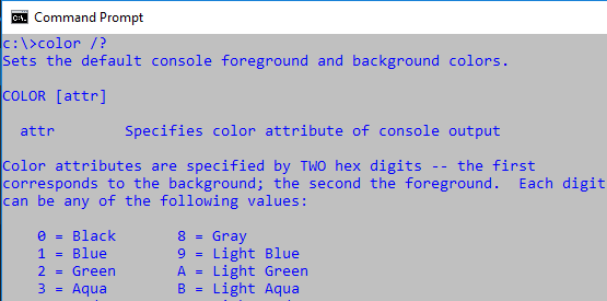 After changing color settings of command prompt