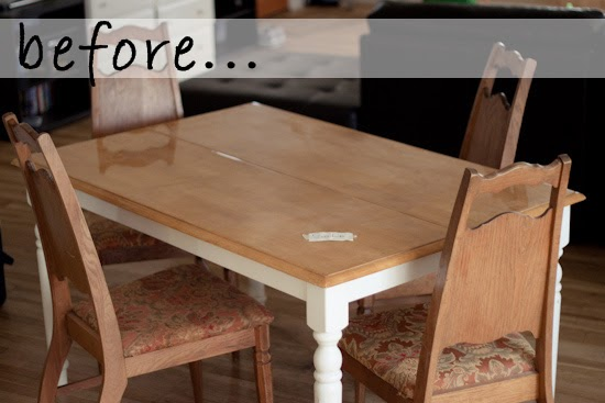 Strawberry Chic DIY Tuesday Before  After Dining Table