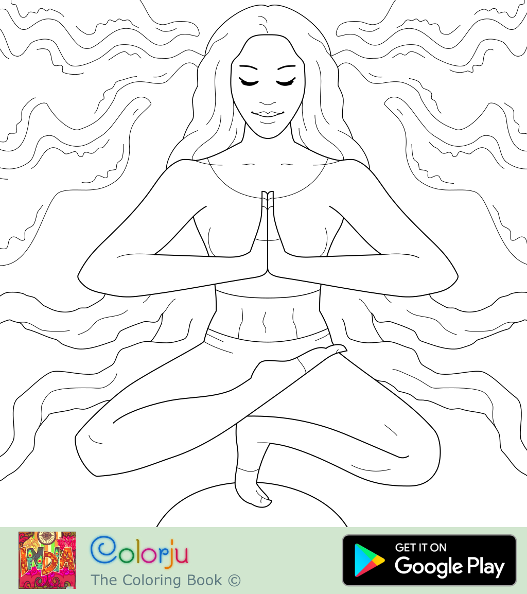 Free indian namaste yoga meditation pose coloring pages
