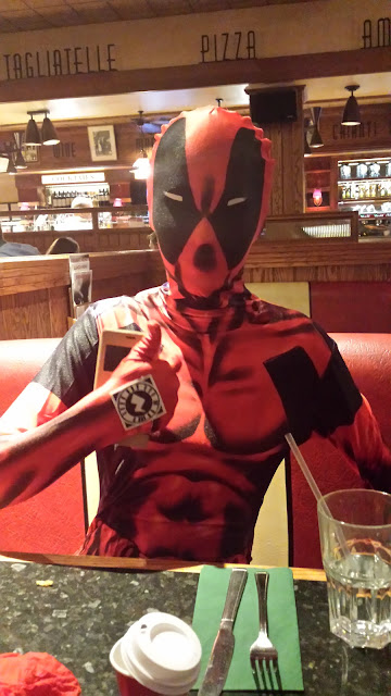 out and about in a deadpool morphsuit