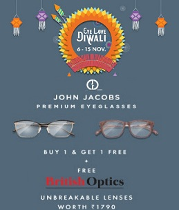 Lenskart Diwali Offer: John Jacob Premium Eyeglasses – Buy 1 Get 1 Free + FREE British Optics Lenses worth Rs.1790