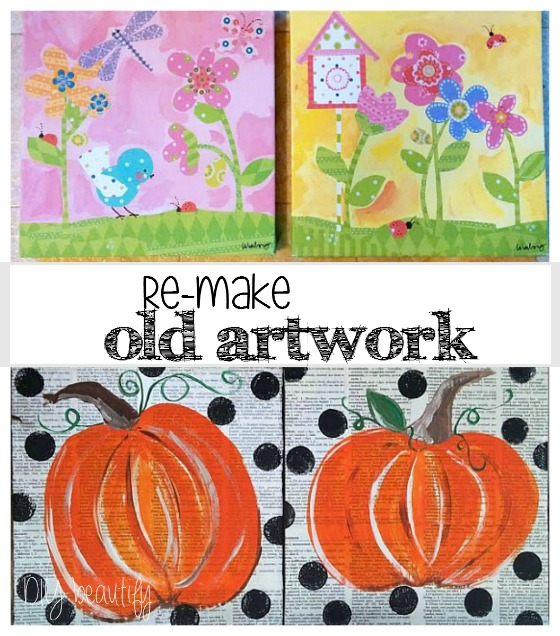 Painted Pumpkins on canvas www.diybeautify.com