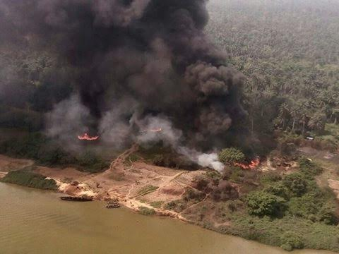Photos: Nigerian Air Force destroy illegal refineries in Rivers state