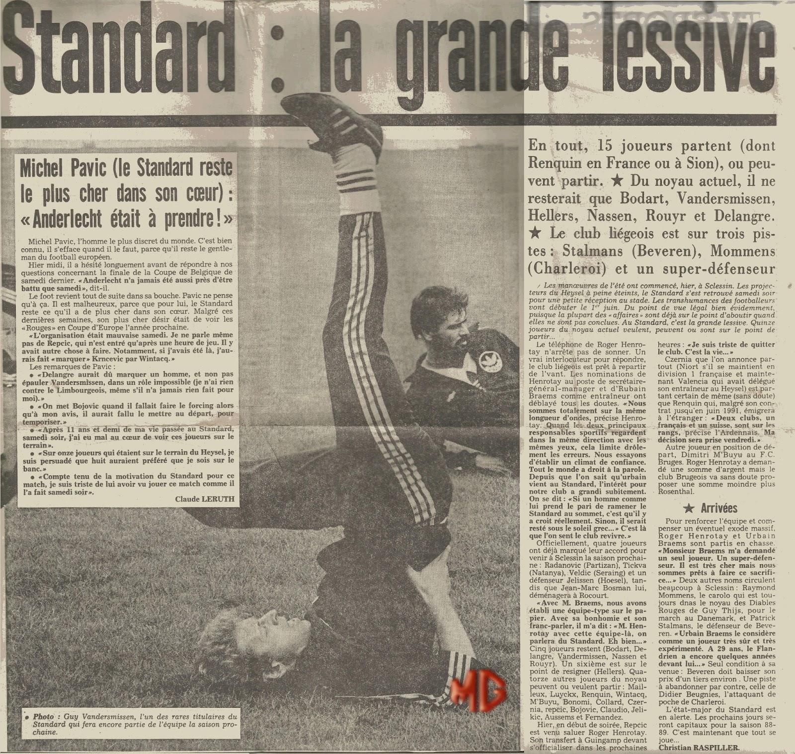 le standard de li 232 ge d hier 224 aujourd hui 1987 1988