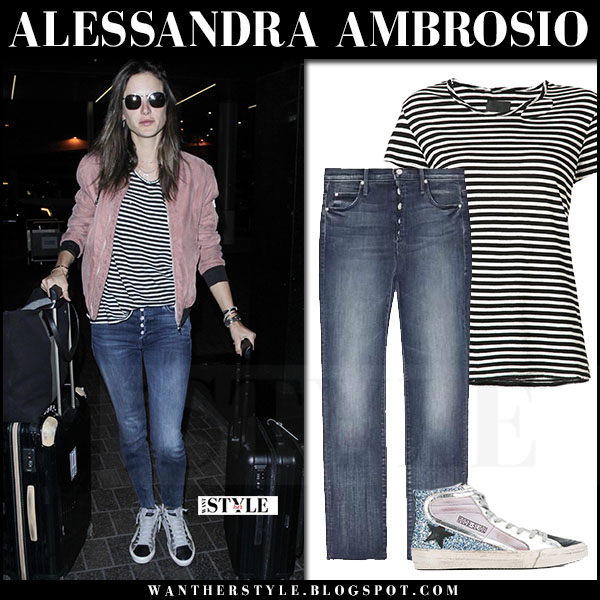 Alessandra Ambrosio in bomber jacket, striped tee and jeans mother denim what she wore may 30 2017