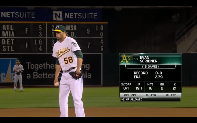 截圖自5/15的比賽,Scribner (Photo Credit: Comcast SportsNet California / MLB.TV)