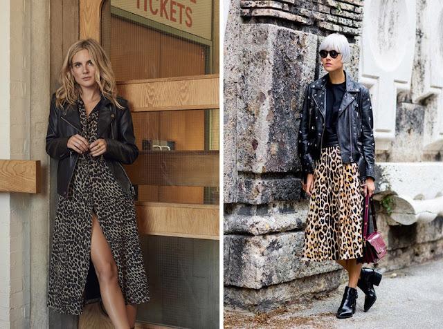 Леопардовое платье и короткая юбка с черной байкерской курткой косухой