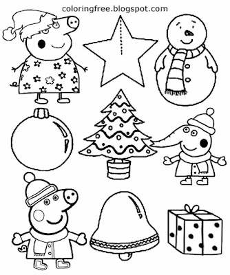 Xmas tree star and bell easy coloring Christmas images to print Peppa pig activities for early years