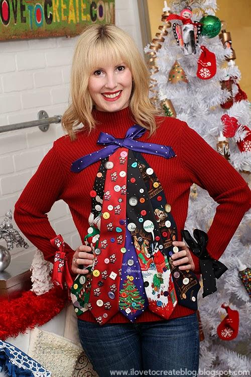 Ugly Tie Christmas Tree Sweater | iLoveToCreate