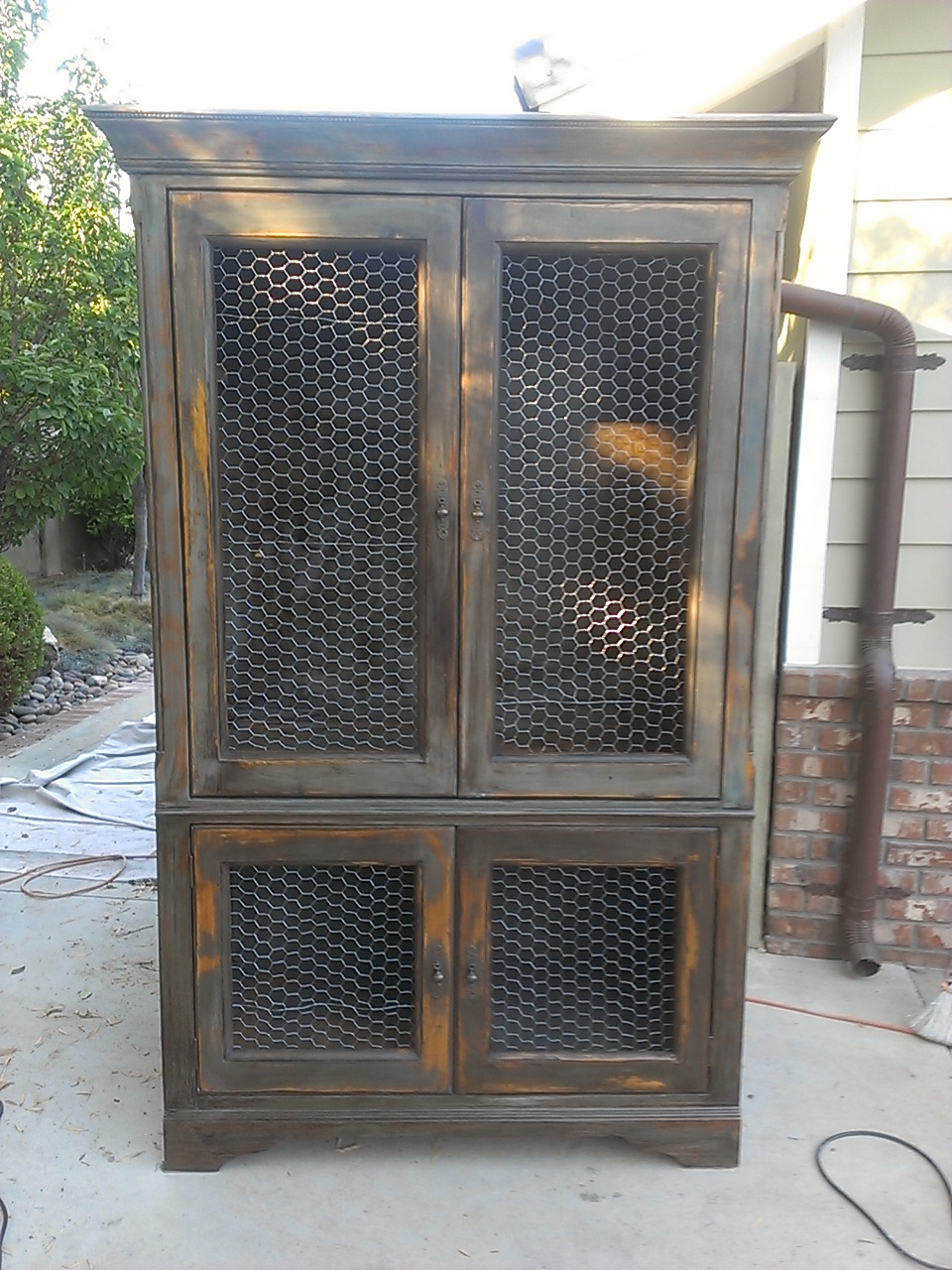 The Panels With My Jig Saw On All Four Doors And Stapled Chicken Wire To Inside Of This Gave Piece A Rustic French Farmhouse Feel