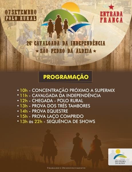 26º Cavalgada da Independência acontece nesta sexta-feria (07/09) em São Pedro da Aldeia