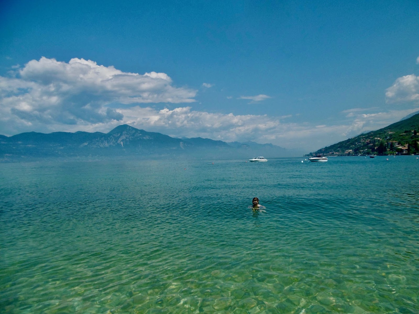 swimming in Lake garda, 21 day tour of Italy, where to visit and where to stay. Cal McTravels