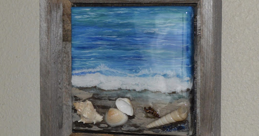Seashells on the Seashore, by Melissa A. Torres, 6x6 mixed media on canvas, Framed