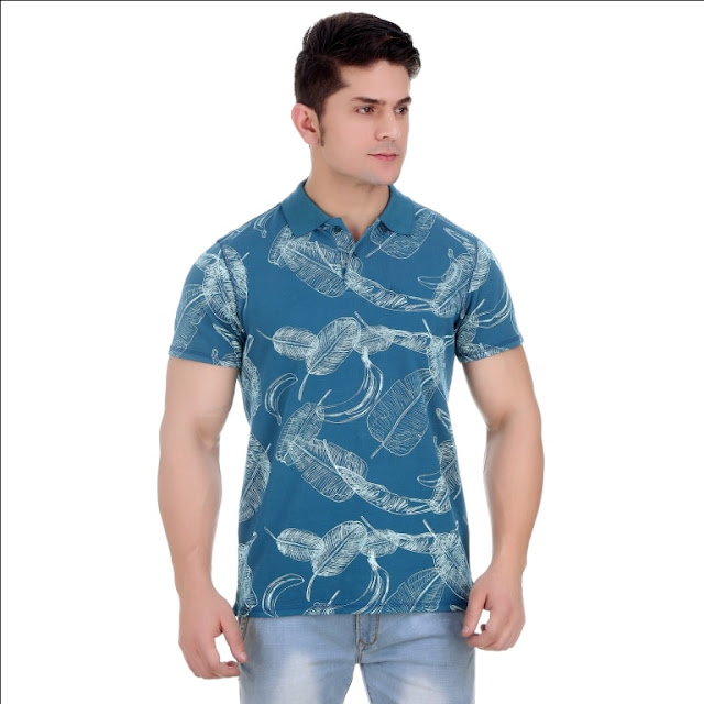 Overdyed Stargazer All Over Coastal Print Pique Cotton Polo T Shirt With Enzyme Wash
