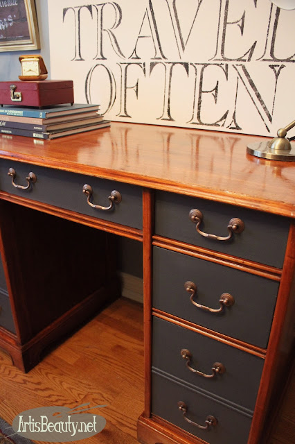 general finishes queenstown gray paint executive desk painted makeover before and after diy